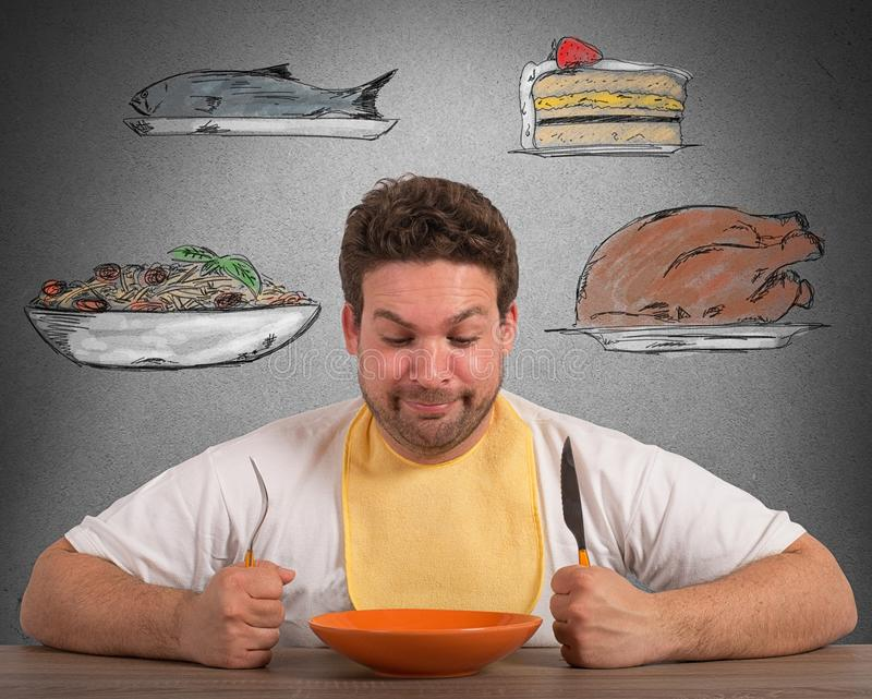 Hungry man stock photography
