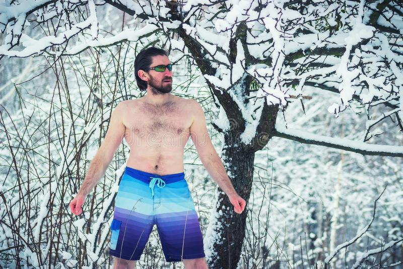 Hungry northern bearded naked man devouring snow. Winter royalty free stock image