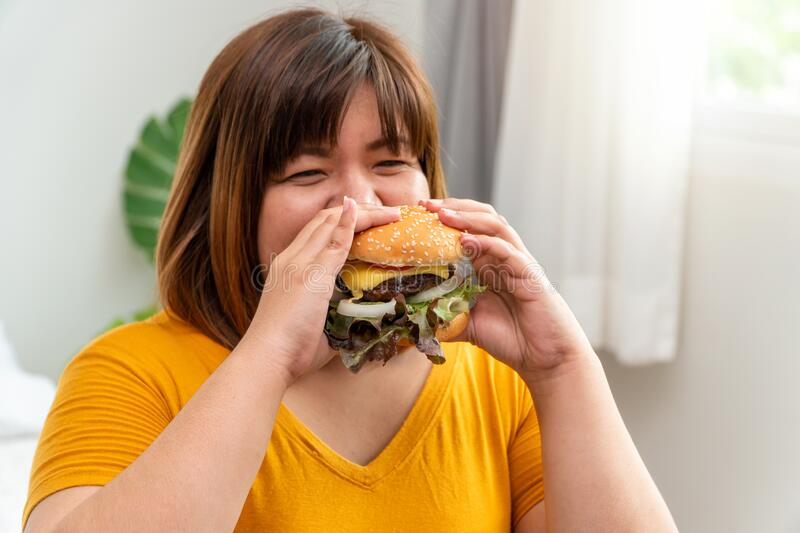 Hungry overweight young asian woman holding hamburger, Her hungry all time and overeat, gluttony and binge eating. Her lifestyle. Is eating fast food all time stock photography
