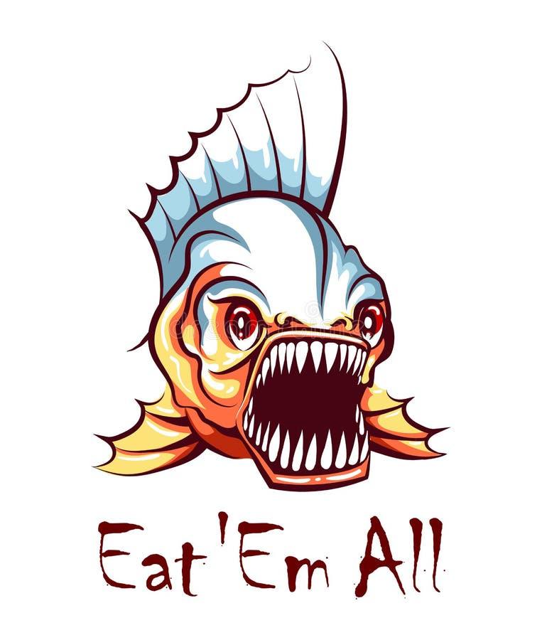 Hungry Piranha Mascot Emblem Ilustração vetorial ilustração do vetor