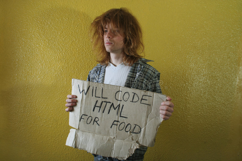 Hungry programmer stock photos