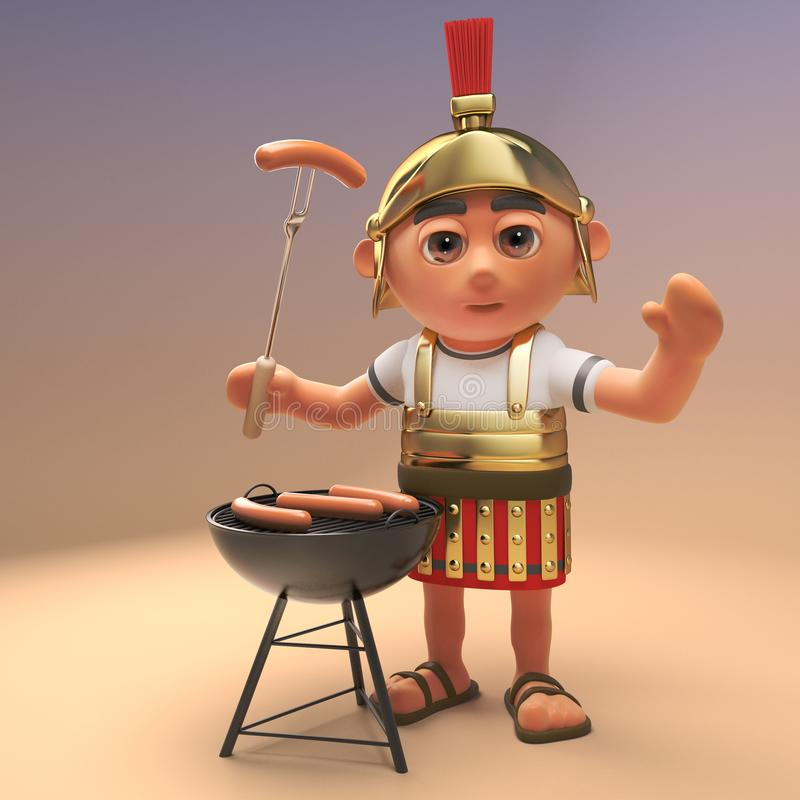 Hungry Roman legionnaire soldier in armour is cooking sausages on a barbecue bbq, 3d illustration. Render vector illustration