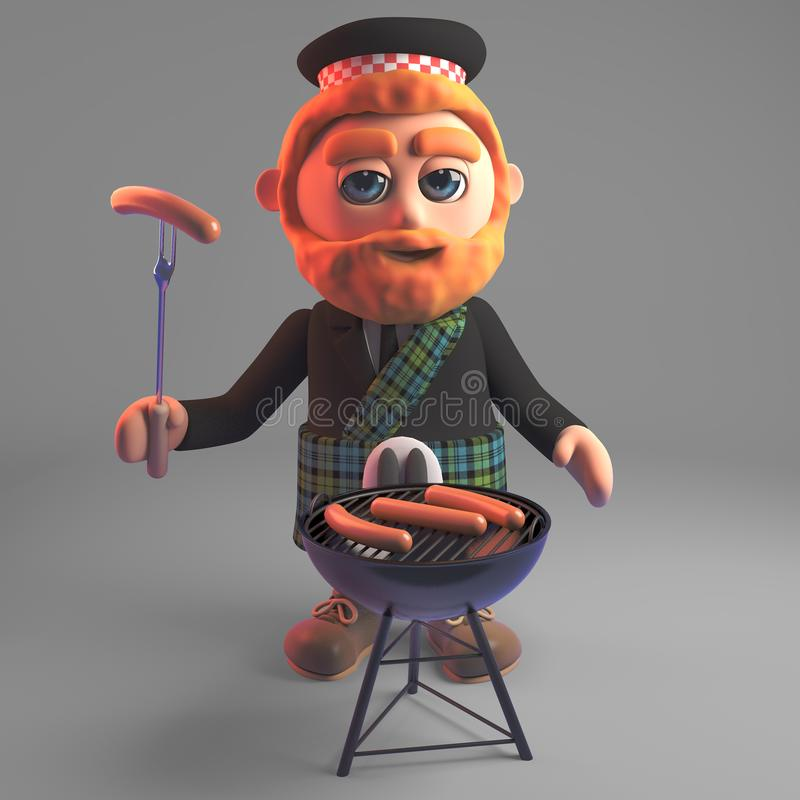 Hungry Scottish man in kilt cooks sausages on the barbecue bbq, 3d illustration. Render vector illustration