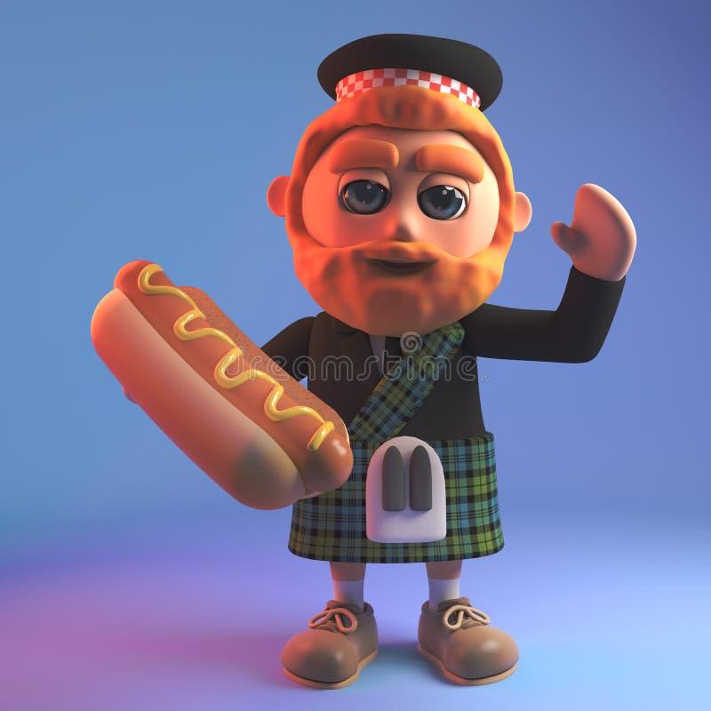 Hungry Scottish man in tartan kilt and sporran eating a hot dog, 3d illustration stock illustration