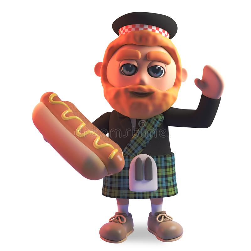 Hungry Scottish man in traditional kilt eating a delicious hotdog, 3d illustration vector illustration