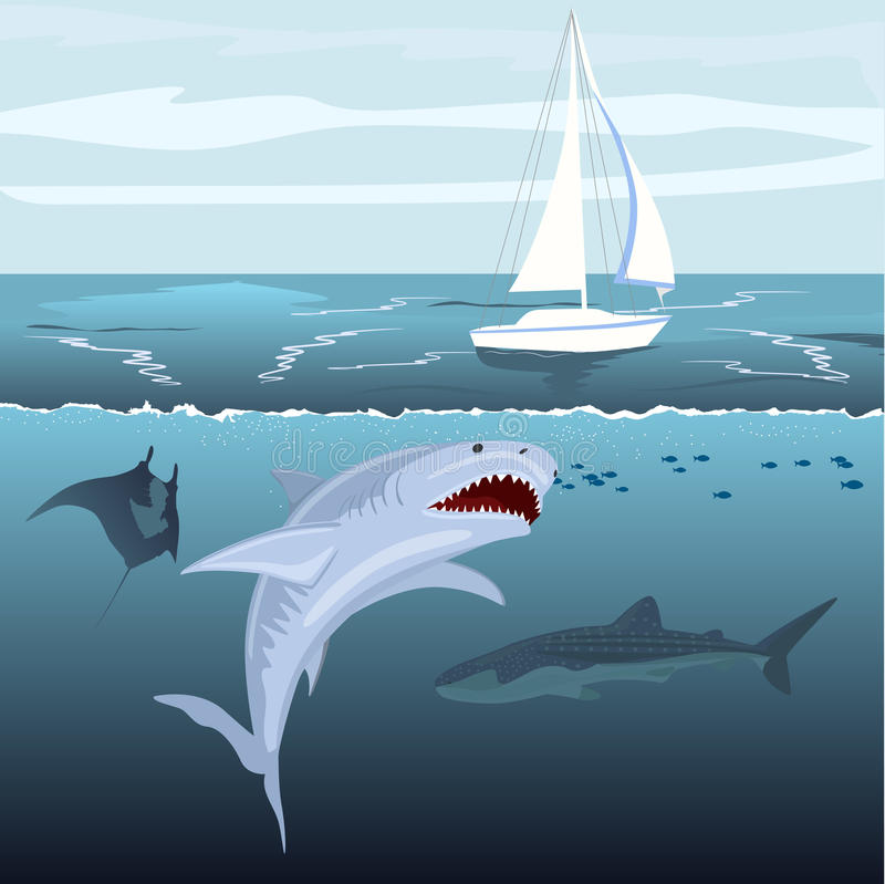 Hungry shark attacks yacht ship from ocean water royalty free illustration