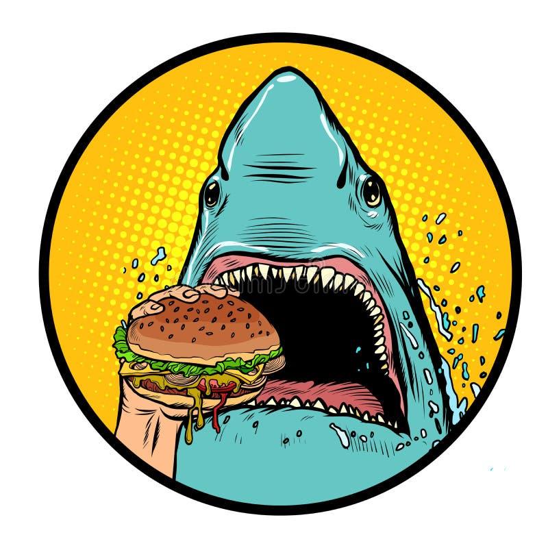 Hungry shark eat the Burger stock illustration