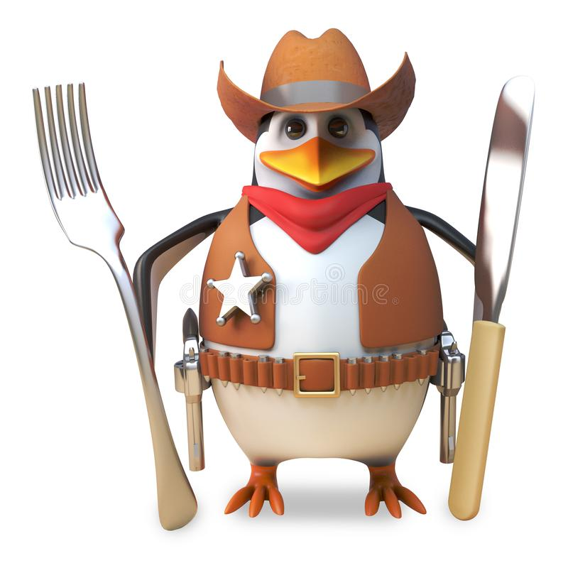Hungry sheriff penguin the brave cowboy is hungry and holds his knife and fork ready, 3d illustration vector illustration