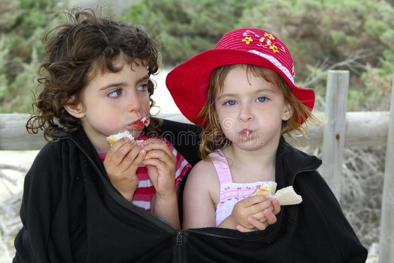 Hungry Sisters Summer Cold Day Wrap Big Jacket Royalty Free Stock Images