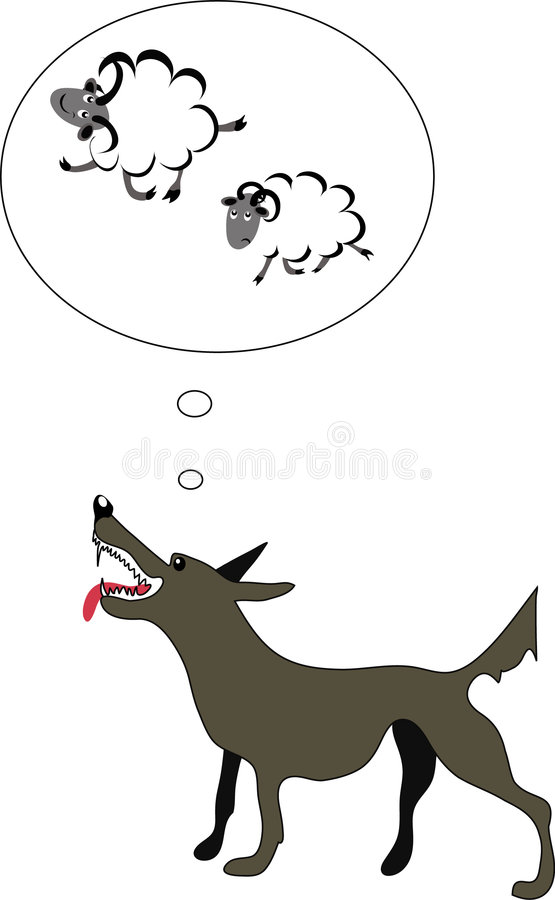 Download Hungry Wolf Thinking About Sheep Stock Vector - Image: 8106929