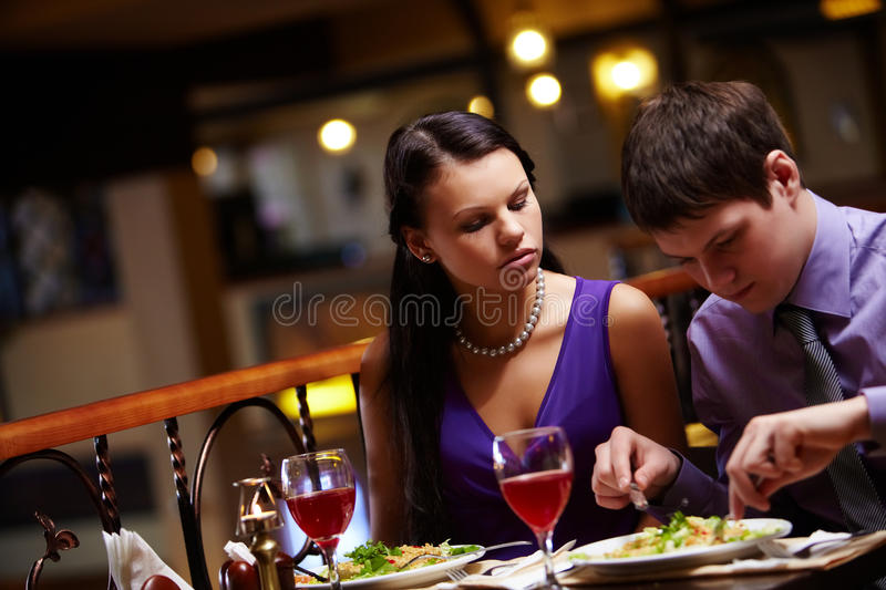 Hungry woman royalty free stock images