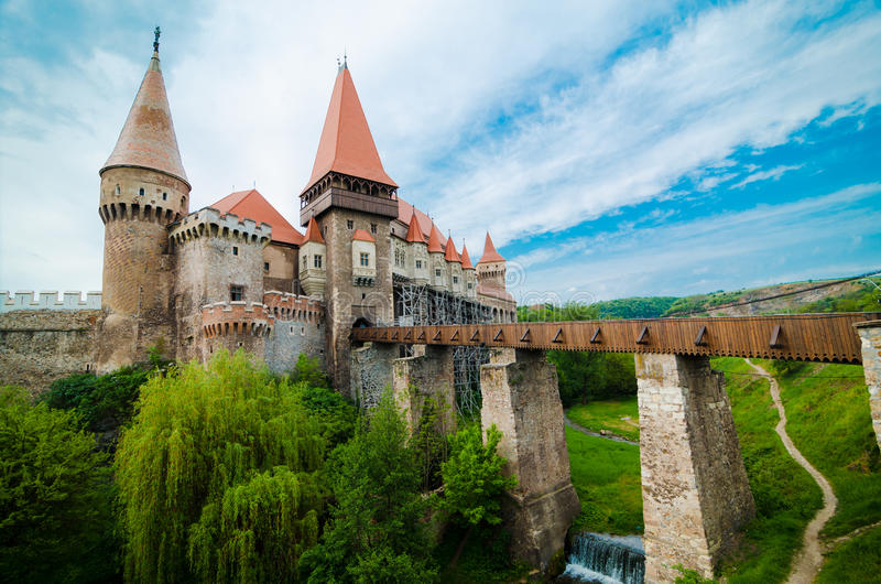 Huniazi Castle in a large view. The Hunyad Castle from Hunedoara (Castelul Huniazilor or Castelul Corvinestilor - in romanian language) in a wide angle view stock photography