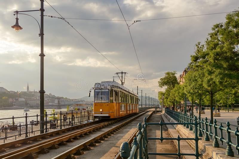 Hunker tramwajarską trasę w Budapest fotografia royalty free