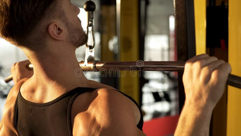 Hunky man doing pull-down exercise in gym with sunlight falling onto his back stock images