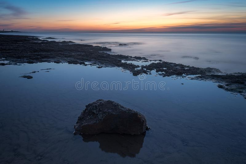 Hunstanton strandsolnedgång norfolk UK arkivbilder