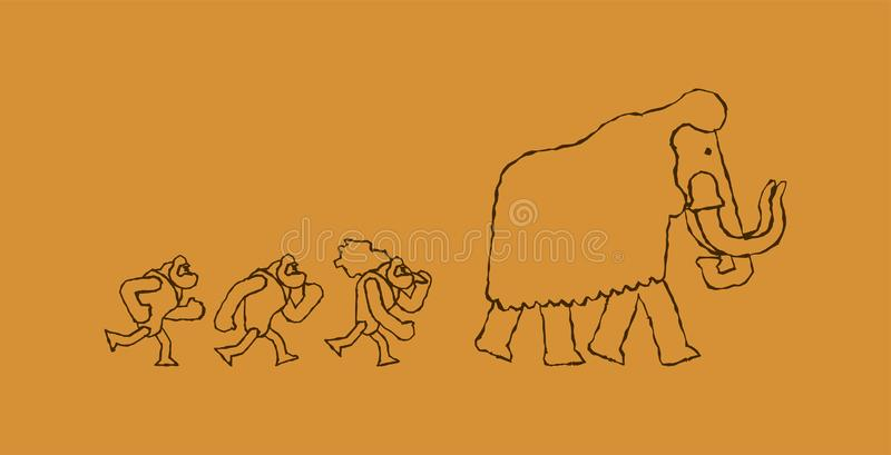Hunt for mammoth Rock painting. caveman Prehistoric man Hunter. royalty free illustration