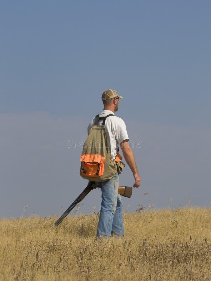 Hunter. Walking on the prairie with his shotgun royalty free stock photos