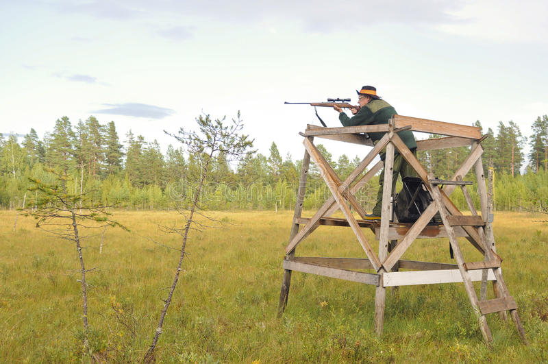 Hunter aiming. A male hunter aiming with a rifle stock photos