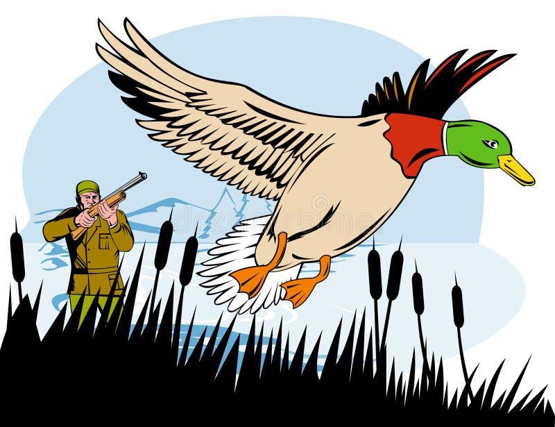 Hunter aiming at duck vector illustration