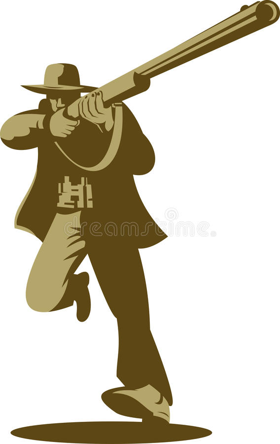 Download Hunter aiming gun shooting stock illustration. Image of rifle - 10614154
