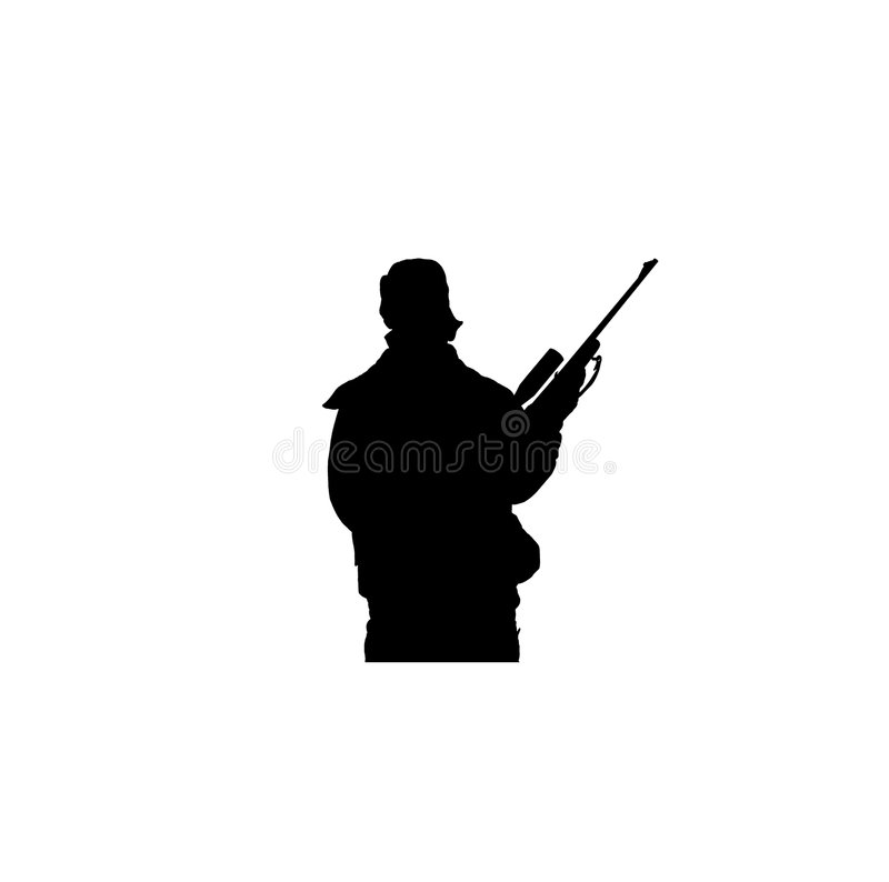 Download Hunter Aiming Rifle stock illustration. Image of pictograms - 7566041