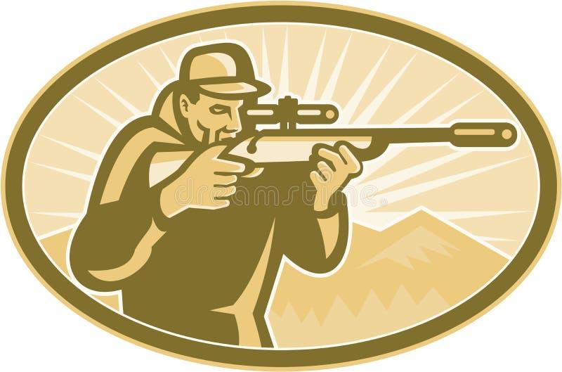 Hunter Aiming Rifle Oval Retro stock illustratie