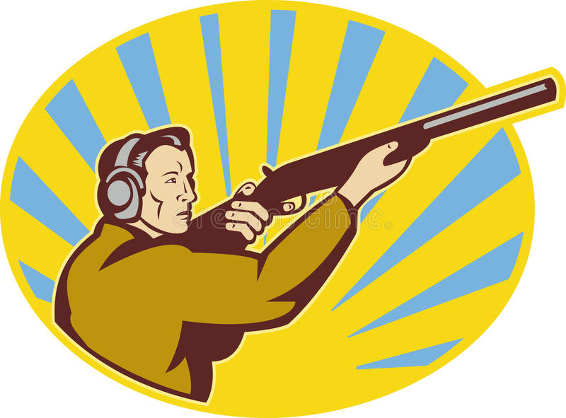 Hunter Aiming Rifle Shotgun Royalty Free Stock Photography
