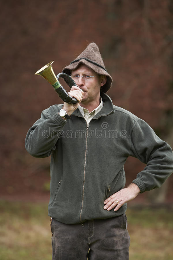 Hunter Blowing Horn Royalty Free Stock Image