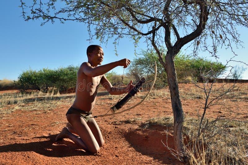 Hunter Bushman, Namibia. KALAHARI NAMIBIA - JAN 24, 2016: Hunter Bushman. The San people, also known as Bushmen are members of various indigenous hunter-gatherer stock images