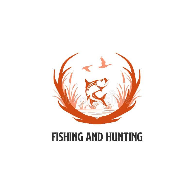 Hunter Club Abstract Vintage Label eller Logo Template med horn p? kronhjort, texturer och Retro typografi Ocks? goda f?r affisch royaltyfri illustrationer