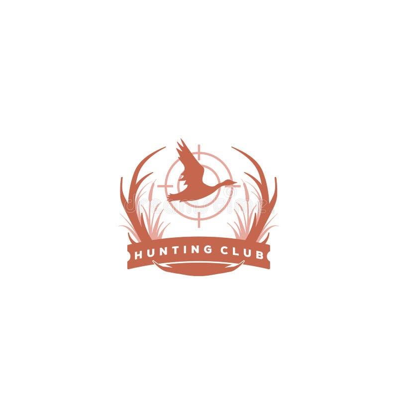 Hunter Club Abstract Vintage Label of Logo Template met Geweitakken, Texturen en Retro Typografie Ook Goed voor Affiches, Flayers royalty-vrije illustratie