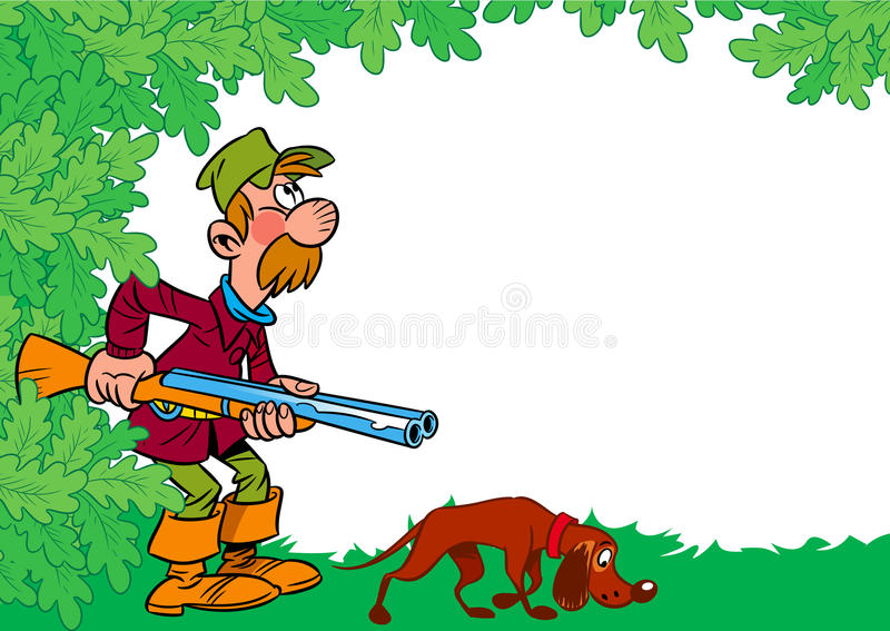 Hunter with dog royalty free illustration