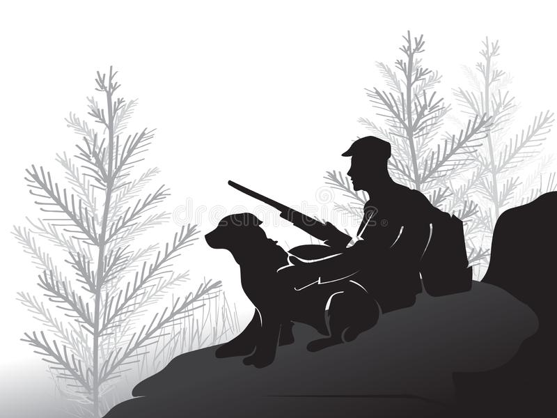 Hunter with a dog sitting on a large stone. The man holding the gun. Pine forest. Hunting for grouse. Hunters open season. royalty free illustration