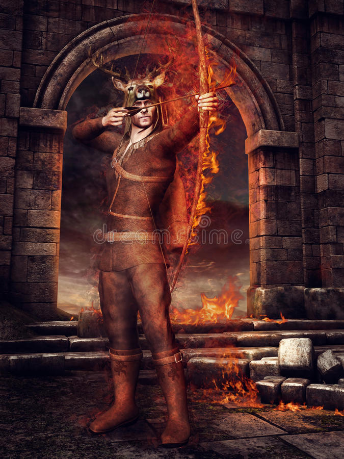Hunter with fiery arrows stock illustration