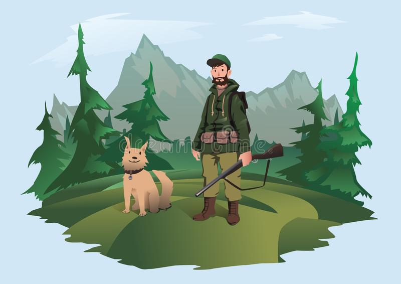 Hunter with gun and dog. Huntsman standing in the forest against a mountain landscape. Vector illustration, isolated on. Hunter with gun and happy dog. Huntsman stock illustration