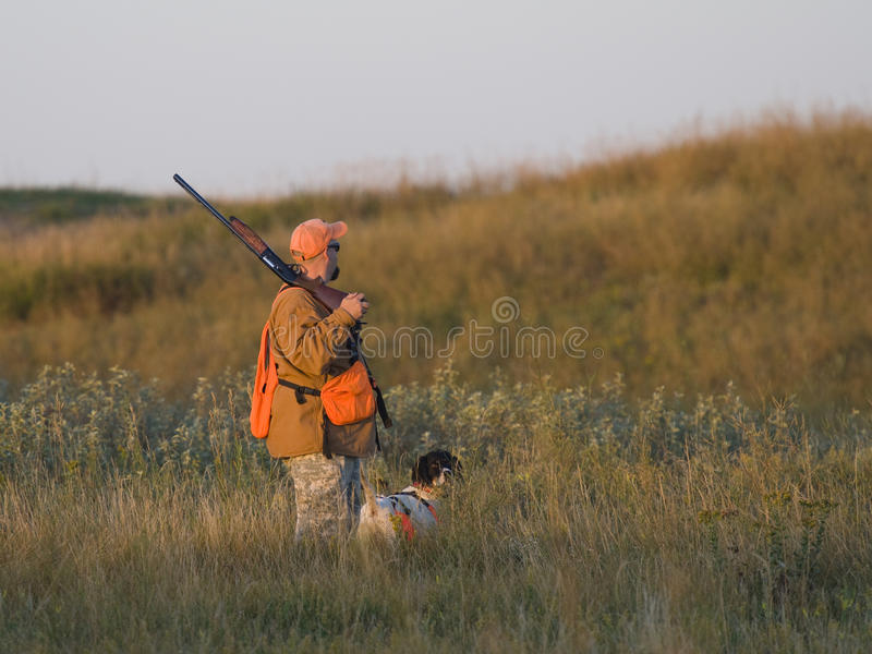 Download Hunter With His Dog In The Early Morning Stock Photo - Image of ringneck, outdoors: 28425556