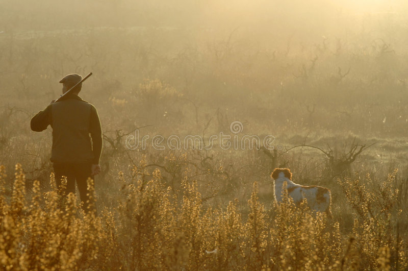 Hunter and his dog royalty free stock images
