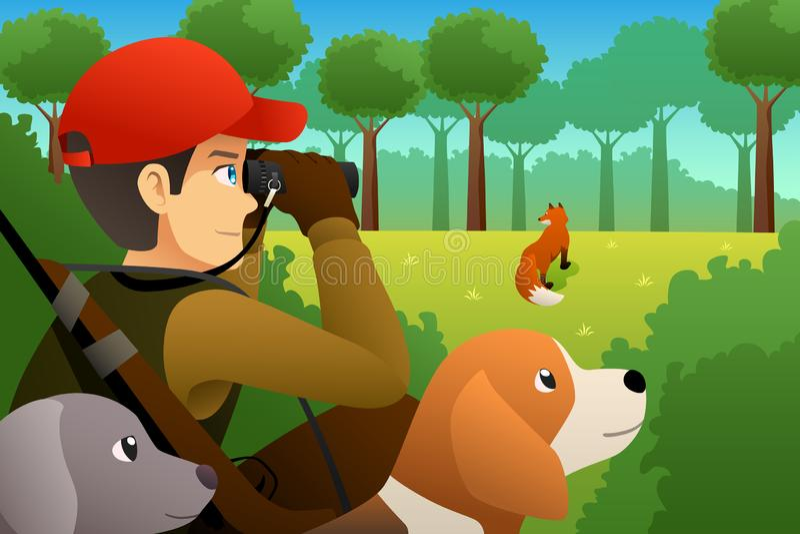 Hunter With His Dog Hunting een Vos vector illustratie