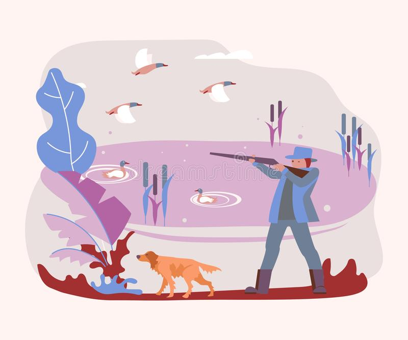 Hunter with a hunting dog royalty free illustration