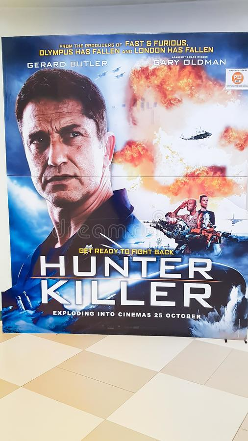 Hunter Killer movie poster. KUALA LUMPUR, MALAYSIA - NOVEMBER 14, 2018: Hunter Killer movie poster. The movie is about American submarine to resque Russian royalty free stock photography