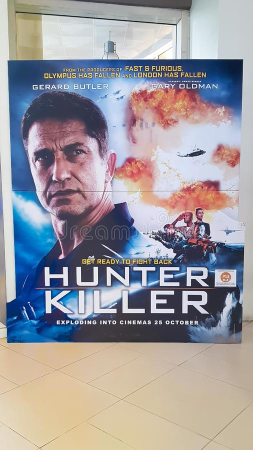 Hunter Killer movie poster. KUALA LUMPUR, MALAYSIA - OCTOBER 31, 2018: Hunter Killer movie poster. The movie is about American submarine to resque Russian stock photography
