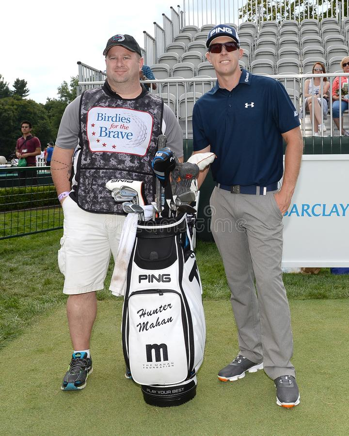 Hunter Mahan bij 2015 Barclays pro-Am hield in Plainfield Country Club in Edison, New Jersey royalty-vrije stock foto