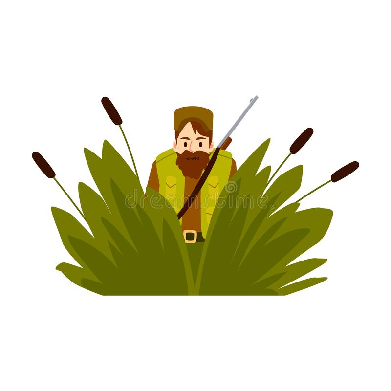 Hunter man in an ambush with rifle vector flat illustration isolated on white. Hunter man sits in an ambush with hunting rifle vector flat design illustration royalty free illustration