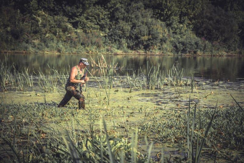 Hunter man breaking through swamp during hunting period stock image