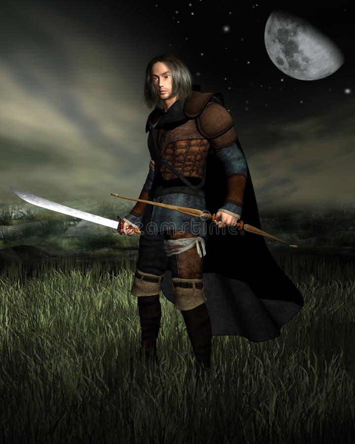 Hunter in the Moonlight stock illustration