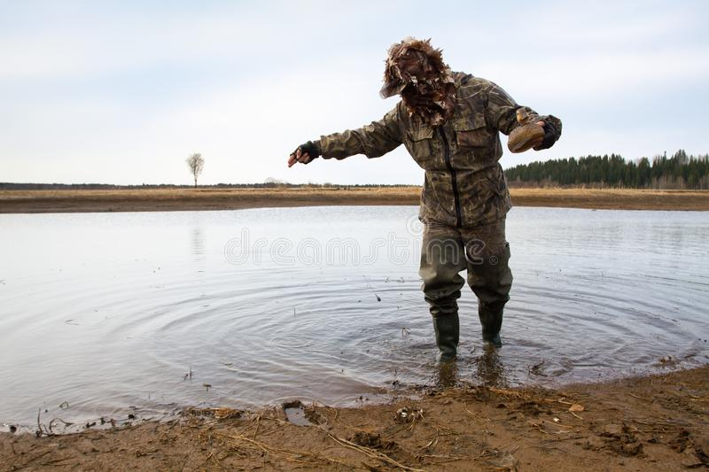 Hunter puts a decoy on shallow water. Duck hunter putting a duck decoy on the shallow water stock images