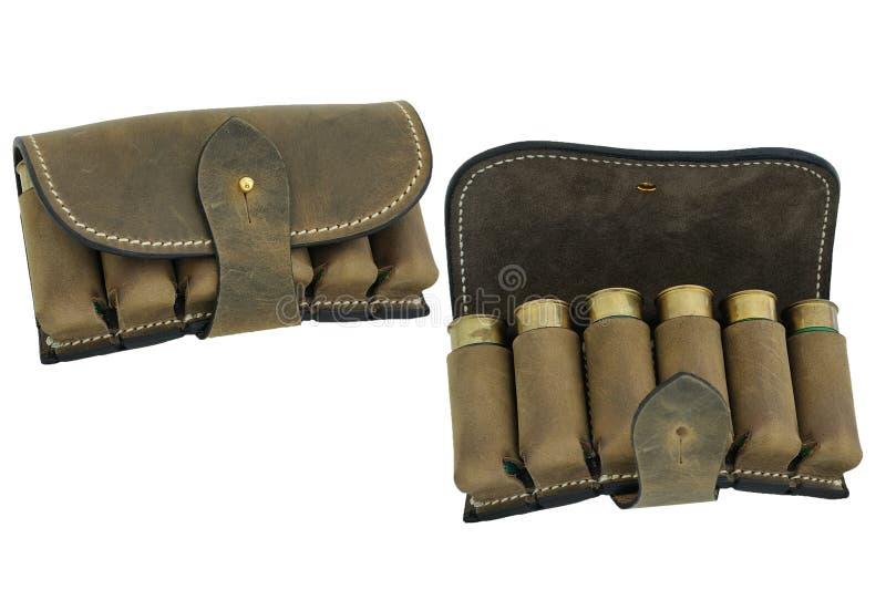 Hunter rifle ammo ammunition bandoliers with cartridges. Hunter rifle ammo ammunition belts & bandoliers royalty free stock photo