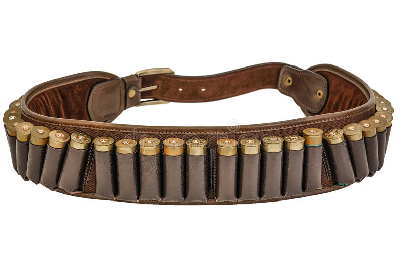 Hunter rifle ammo ammunition belt and bandolier, cartridges inside. Isolated. Brown leather, golden heads of ammunitions items stock photo