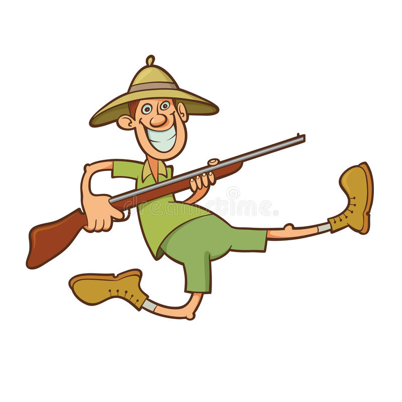 Hunter with rifle. Funny running hunter holding rifle and wearing safari clothes vector illustration
