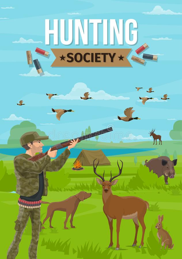 Hunter with rifle, hunting sport vector royalty free illustration